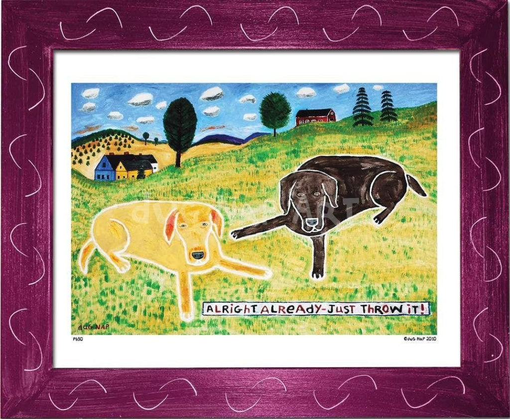 P650 - Just Throw It (Chocolate Lab) Framed Print / Small (8.5 X 11) Violet Art