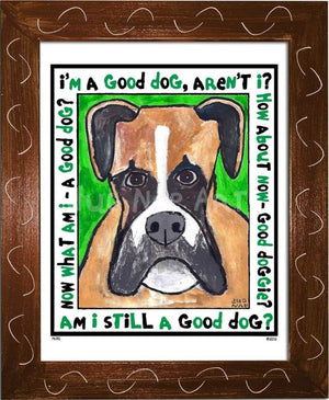 P670 - Good Dog Boxer Framed Print / Small (8.5 X 11) Brown Art