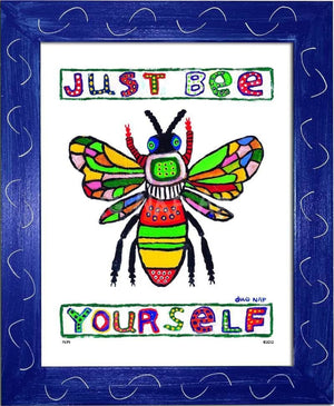 P674 - Just Bee Yourself Framed Print / Small (8.5 X 11) Blue Art