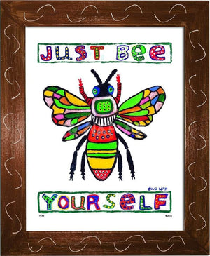P674 - Just Bee Yourself Framed Print / Small (8.5 X 11) Brown Art