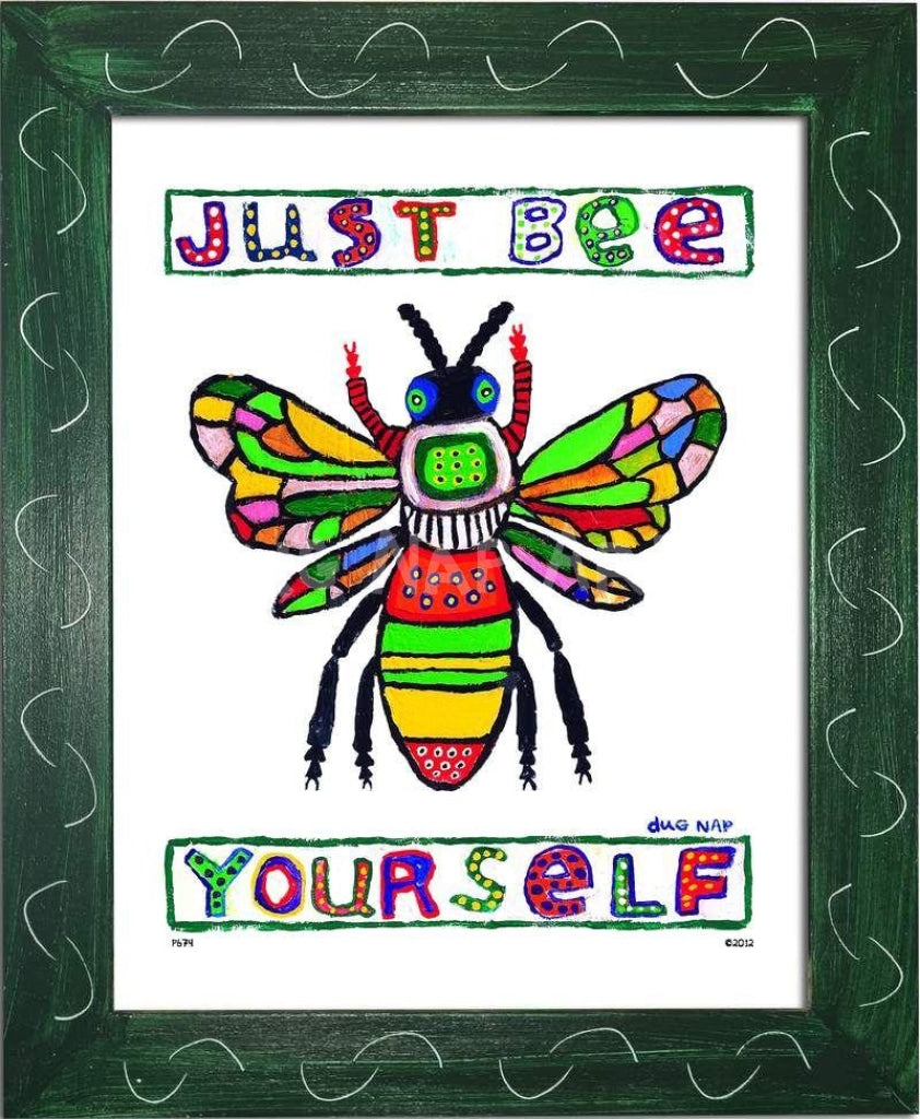 P674 - Just Bee Yourself Framed Print / Small (8.5 X 11) Green Art