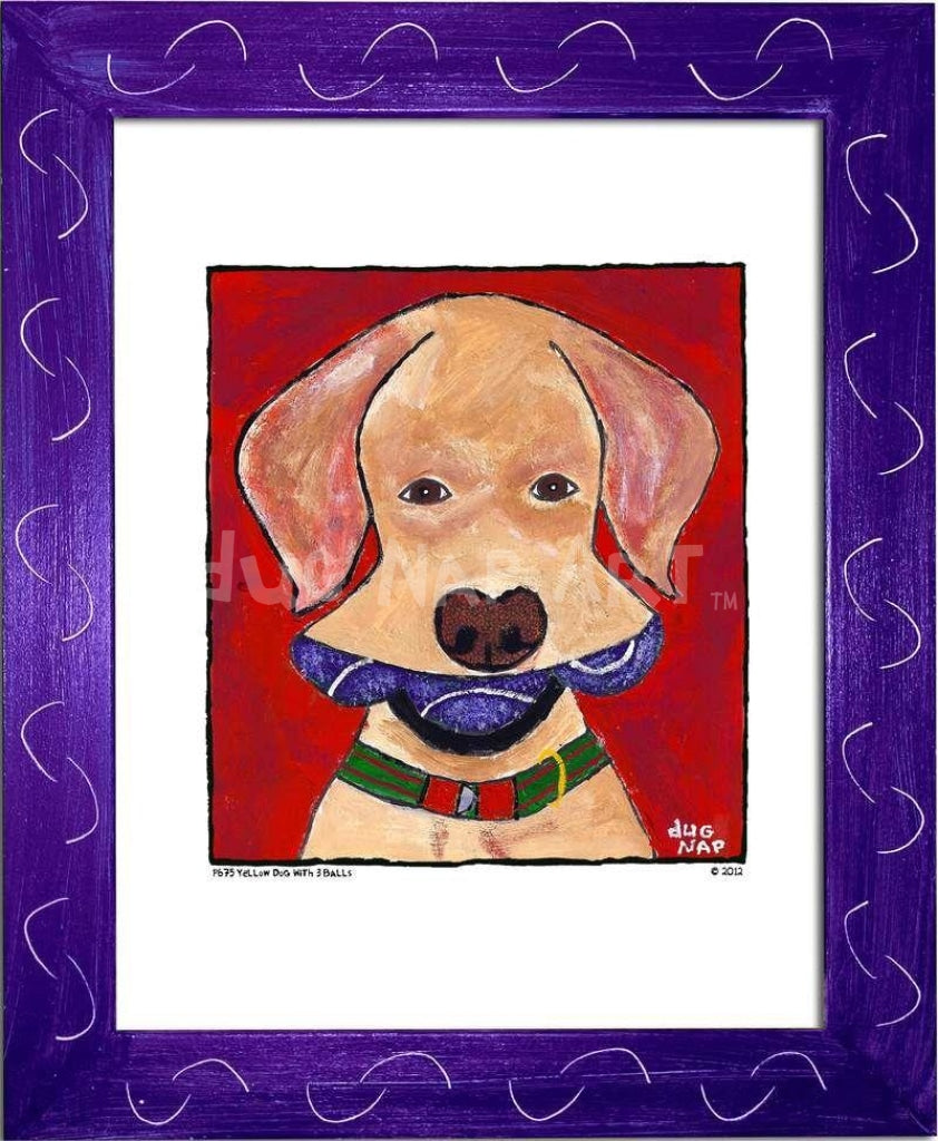 P675 - Yellow Dog With Three Balls Framed Print / Small (8.5 X 11) Purple Art