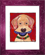 P675 - Yellow Dog With Three Balls Framed Print / Small (8.5 X 11) Violet Art