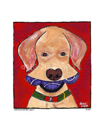P675 - Yellow Dog With Three Balls Unframed Print / Small (8.5 X 11) No Frame Art