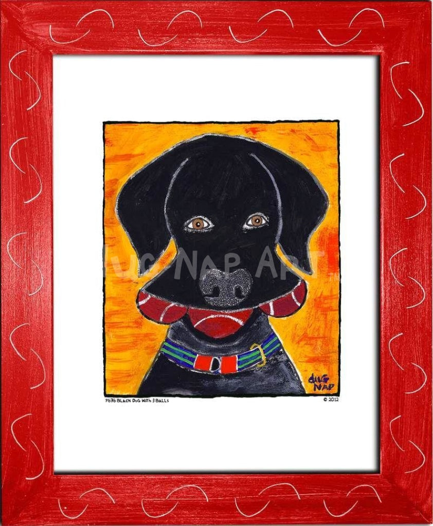 P676 - Black Dog w/ 3 Balls - dug Nap Art