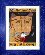 P682 - Yoga Cat- Meommm Framed Print / Small (8.5 X 11) Blue Art