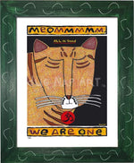 P682 - Yoga Cat- Meommm Framed Print / Small (8.5 X 11) Green Art