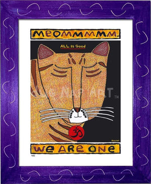 P682 - Yoga Cat- Meommm Framed Print / Small (8.5 X 11) Purple Art
