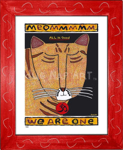 P682 - Yoga Cat- Meommm Framed Print / Small (8.5 X 11) Red Art