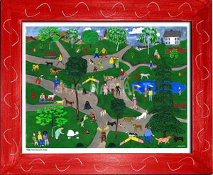 P686 - Doggie Park Framed Print / Small (8.5 X 11) Red Art
