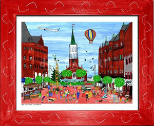 P687 - Church St. Summer Small (8.5 X 11) / Red Art