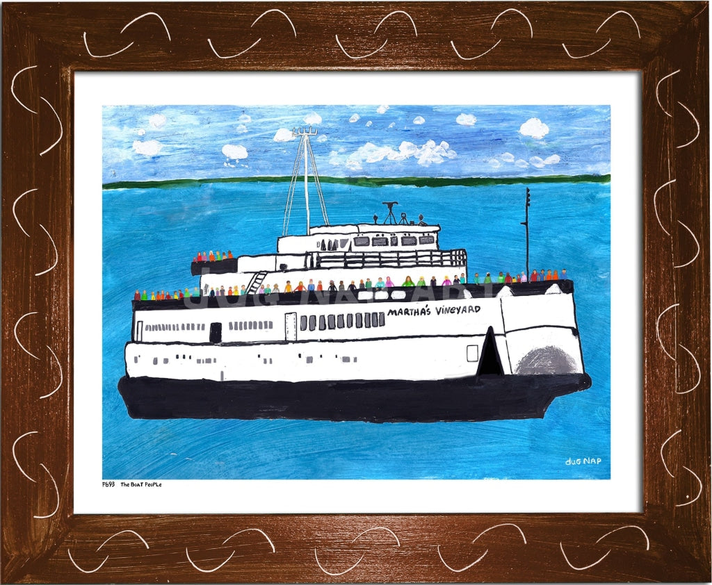 P693 - The Boat People Framed Print / Small (8.5 X 11) Brown Art