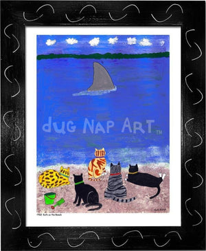 P703 - Cats At The Beach Framed Print / Small (8.5 X 11) Black Art