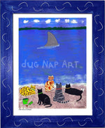 P703 - Cats At The Beach Framed Print / Small (8.5 X 11) Blue Art