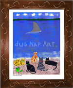P703 - Cats At The Beach Framed Print / Small (8.5 X 11) Brown Art