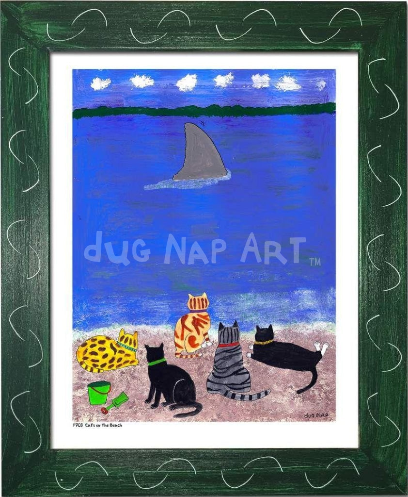 P703 - Cats At The Beach Framed Print / Small (8.5 X 11) Green Art