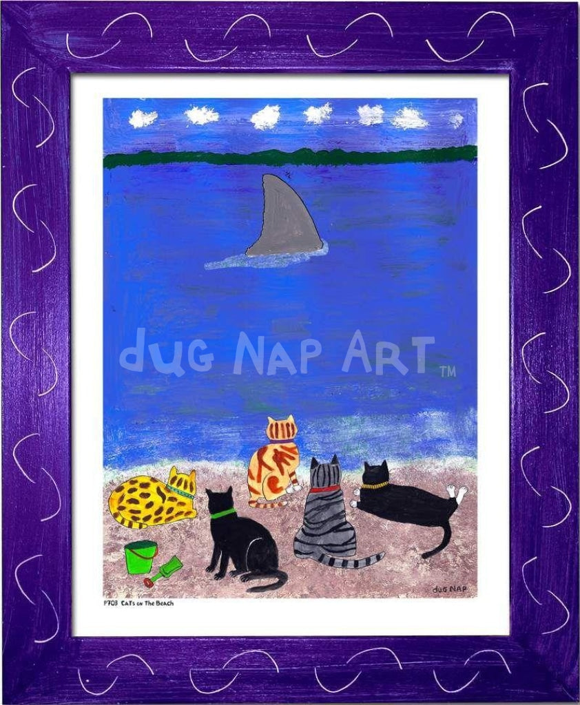 P703 - Cats At The Beach Framed Print / Small (8.5 X 11) Purple Art