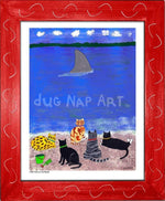 P703 - Cats At The Beach Framed Print / Small (8.5 X 11) Red Art