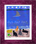 P703 - Cats At The Beach Framed Print / Small (8.5 X 11) Violet Art