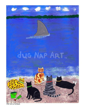 P703 - Cats At The Beach Unframed Print / Small (8.5 X 11) No Frame Art
