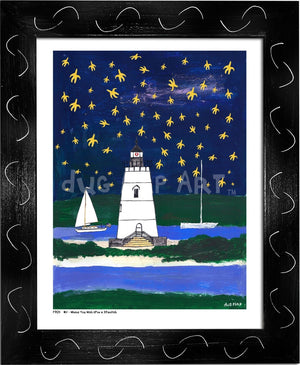P704 - Wish Upon A Starfish Framed Print / Small (8.5 X 11) Black Art