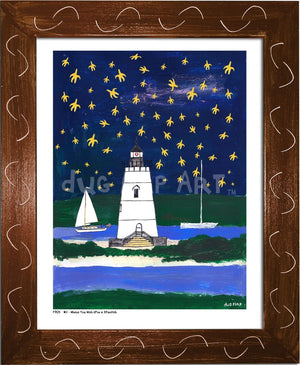 P704 - Wish Upon A Starfish Framed Print / Small (8.5 X 11) Brown Art
