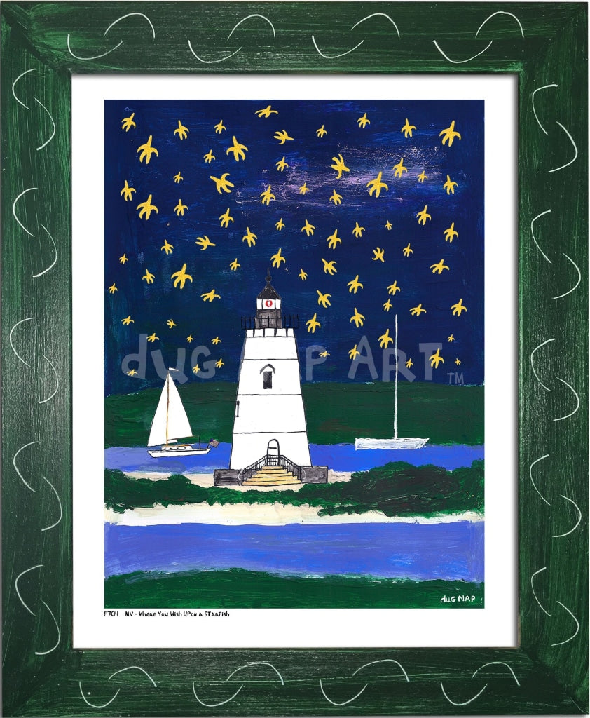 P704 - Wish Upon A Starfish Framed Print / Small (8.5 X 11) Green Art