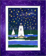 P704 - Wish Upon A Starfish Framed Print / Small (8.5 X 11) Purple Art