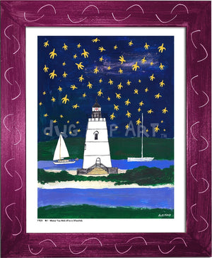 P704 - Wish Upon A Starfish Framed Print / Small (8.5 X 11) Violet Art
