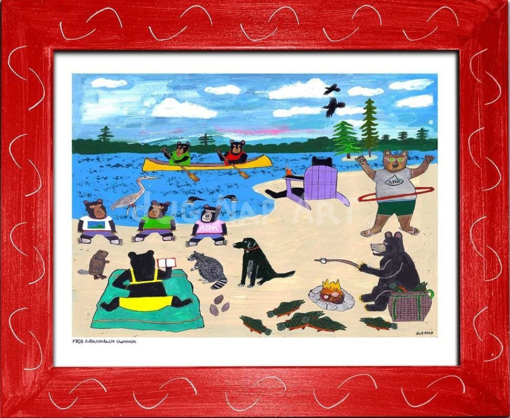 P708 - Adirondack Summer Framed Print / Small (8.5 X 11) Red Art