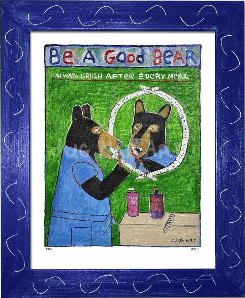P725 - Be A Good Bear Framed Print / Small (8.5 X 11) Blue Art