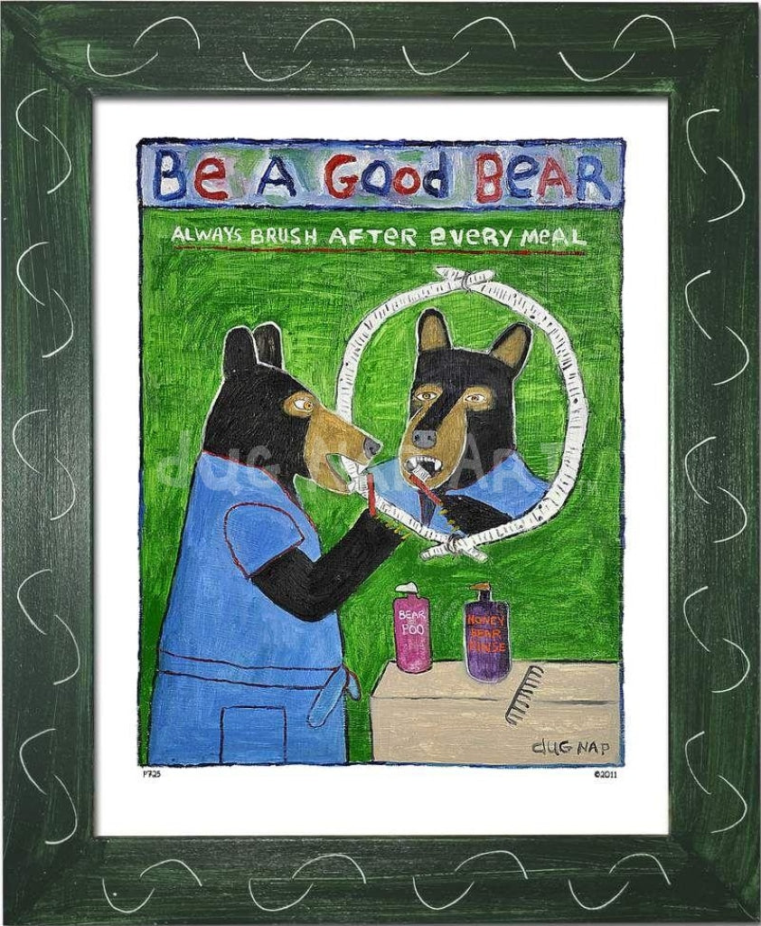 P725 - Be A Good Bear Framed Print / Small (8.5 X 11) Green Art