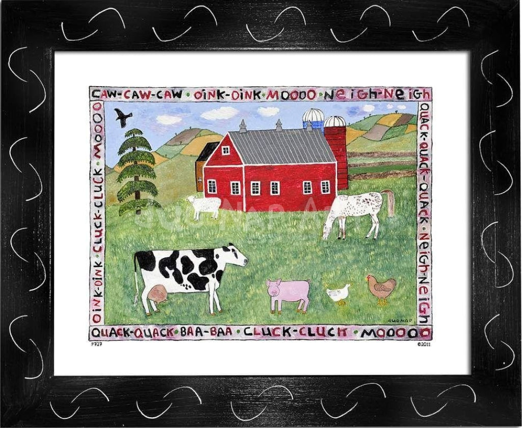 P727 - Lots Of Farm Animals Framed Print / Small (8.5 X 11) Black Art