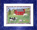 P727 - Lots Of Farm Animals Framed Print / Small (8.5 X 11) Blue Art
