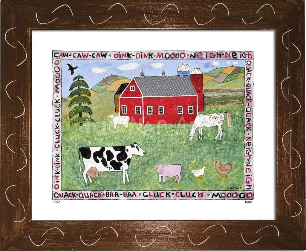 P727 - Lots Of Farm Animals Framed Print / Small (8.5 X 11) Brown Art