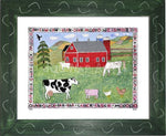 P727 - Lots Of Farm Animals Framed Print / Small (8.5 X 11) Green Art