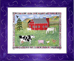 P727 - Lots Of Farm Animals Framed Print / Small (8.5 X 11) Purple Art
