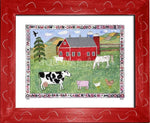 P727 - Lots Of Farm Animals Framed Print / Small (8.5 X 11) Red Art