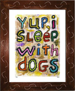 P728 - Sleep With Dogs Framed Print / Small (8.5 X 11) Brown Art
