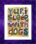 P728 - Sleep With Dogs Framed Print / Small (8.5 X 11) Purple Art