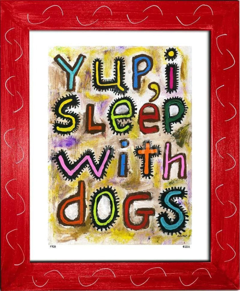 P728 - Sleep With Dogs Framed Print / Small (8.5 X 11) Red Art