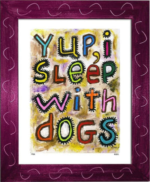 P728 - Sleep With Dogs Framed Print / Small (8.5 X 11) Violet Art
