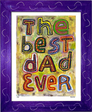 P745 - Best Dad Ever Framed Print / Small (8.5 X 11) Purple Art