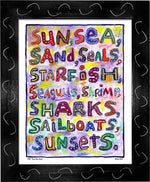 P754 - Sun Sea Sand Framed Print / Small (8.5 X 11) Black Art