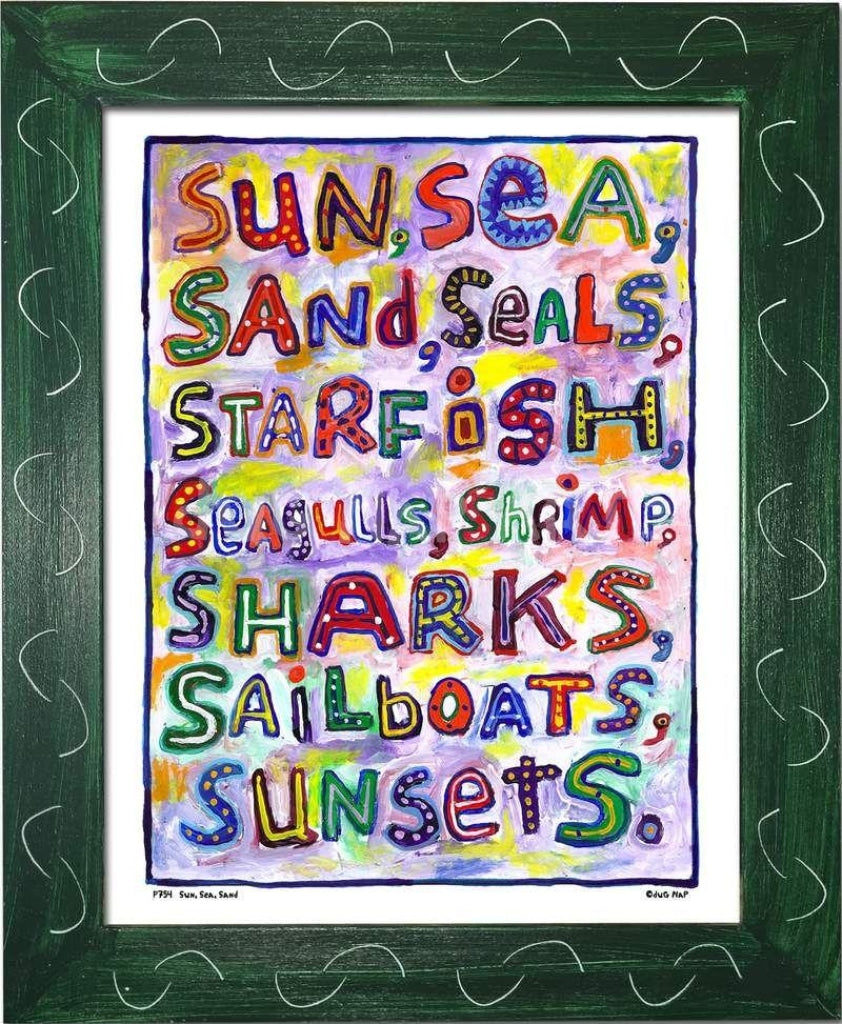 P754 - Sun Sea Sand Framed Print / Small (8.5 X 11) Green Art