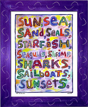 P754 - Sun Sea Sand Framed Print / Small (8.5 X 11) Purple Art