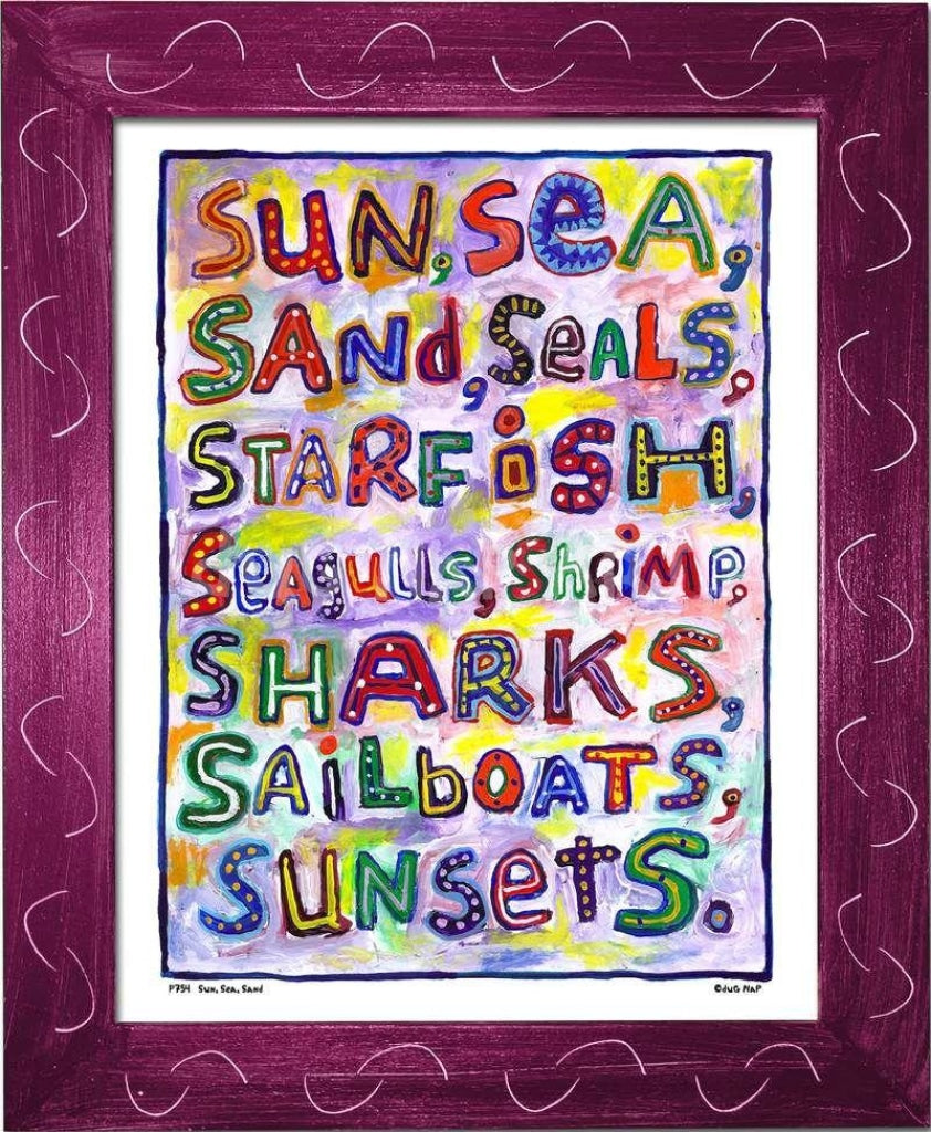 P754 - Sun Sea Sand Framed Print / Small (8.5 X 11) Violet Art