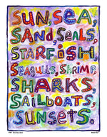 P754 - Sun Sea Sand Unframed Print / Big (16 X 20) No Frame Art
