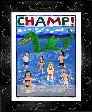 P757 - Champ! Framed Print / Small (8.5 X 11) Black Art