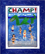 P757 - Champ! Framed Print / Small (8.5 X 11) Blue Art